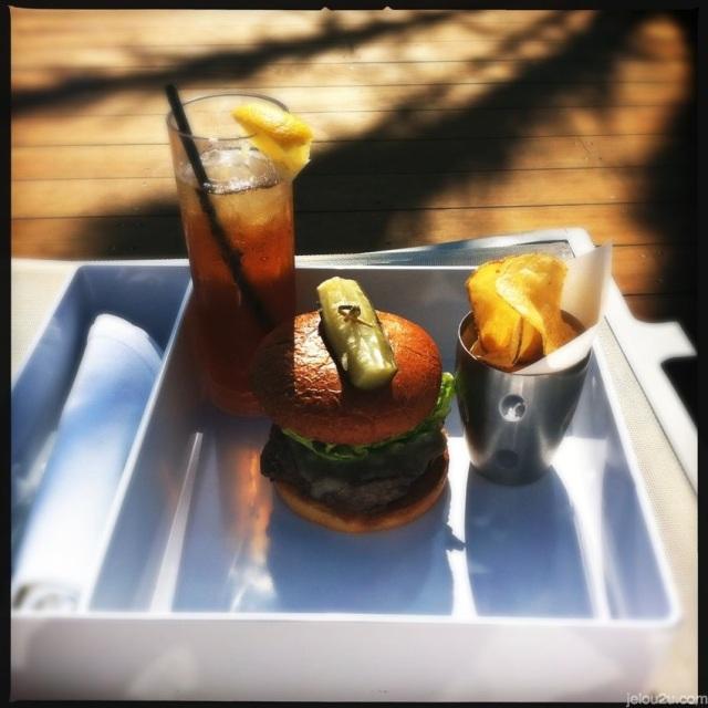 Burger and ice tea