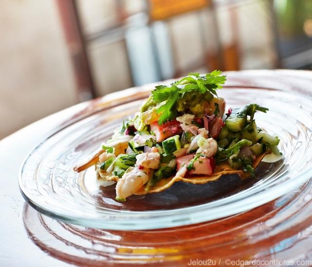 Tostada de ceviche verde de camarón