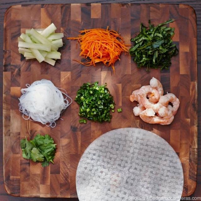 Ingredientes para los rollos vietnamitas